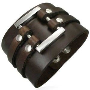 Brown Leather Cuff Bracelet For Men 50mm