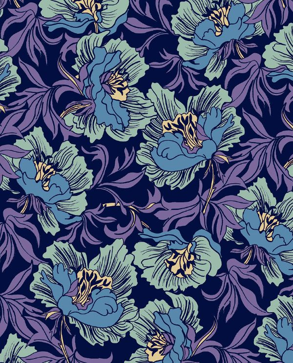 Love this bold yet calm design. William Morris Florals - marisahopkins.com