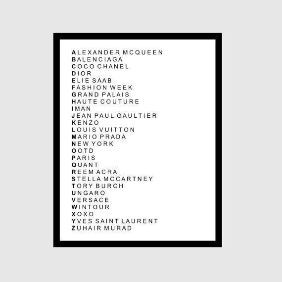 Fashion ABC's Digital Print on Etsy