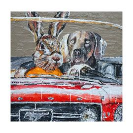 Quirky and original high quality limited edition Giclée print - DogMan and RabbitGirl