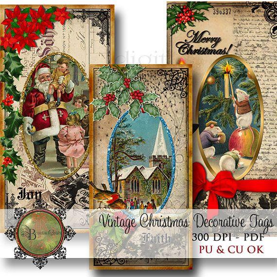 Christmas Tags  Vintage Decorative Tags  Digital by Beauladigitals