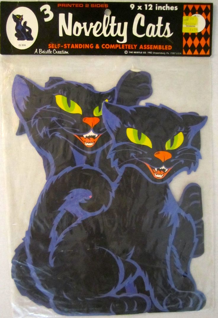 "3 vintage Beistle ""Novelty Cats"" Halloween decorations from the 1970's"