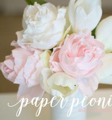 Crepe paper peony bouquet // Krepp papír pünkösdi rózsa csokor // Mindy - craft & DIY tutorial collection