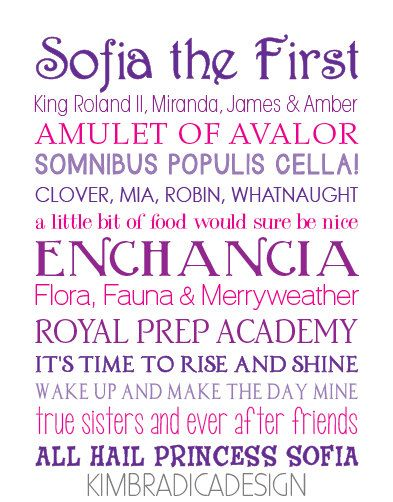 Sofia the First Movie Quote Subway Art, 11x14 Digital Print on Etsy, $20.00