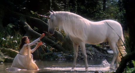 This is a scene from the movie Legend starring a very young Tom Cruise as Jack. Excellent filming of unicorns.