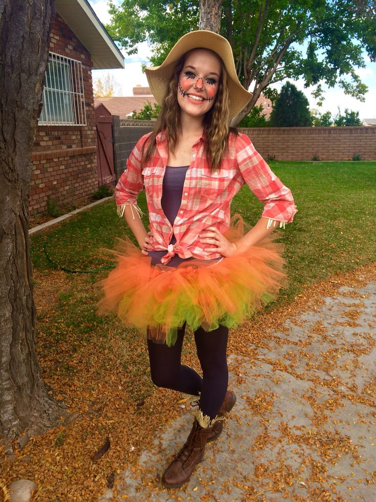 Women's fun scarecrow costume. Tutu, orange, cute