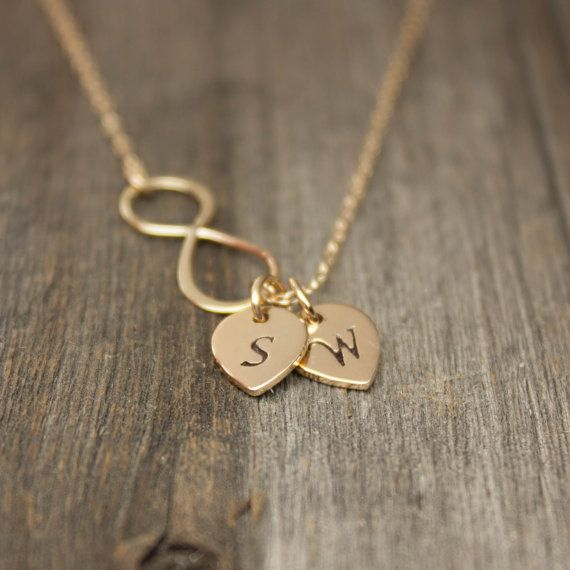 Gold Infinity Necklace - Personalized Jewelry . Gold Monogram Necklace . His and Her Initials . Gift for Girlfriend, Wife, Mom, Bride to Be on Etsy, $32.00