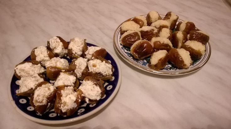 stuffed dates - yummi! (mascarpone + walnuts, powder sugar + almonds + orange essence)