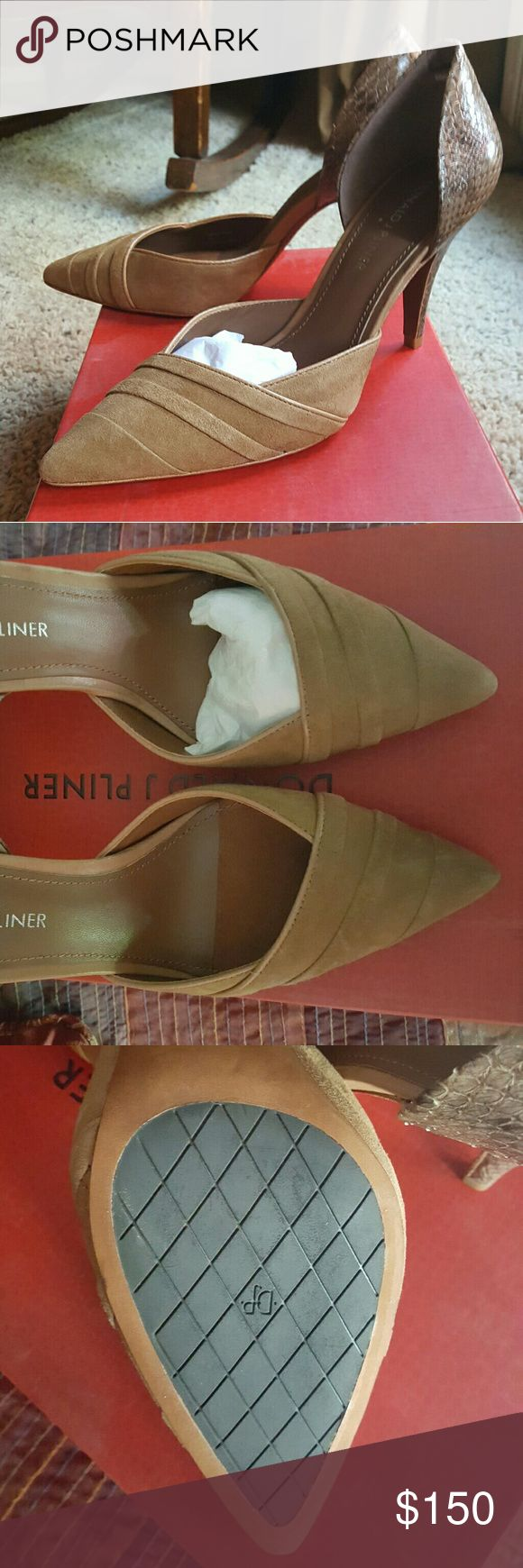 Donald J Pliner Ladies Shoe Tryna-ksus 7 Camel/Sand Kidd Suede/Snake Print Donald J. Pliner Shoes Heels