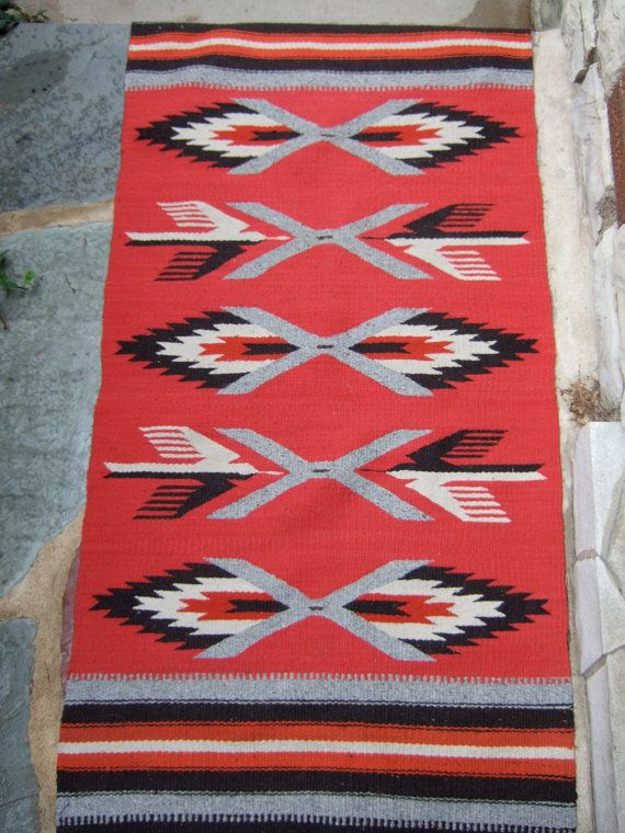 Vintage Navajo Wool Throw or Rug, Traditional Design
