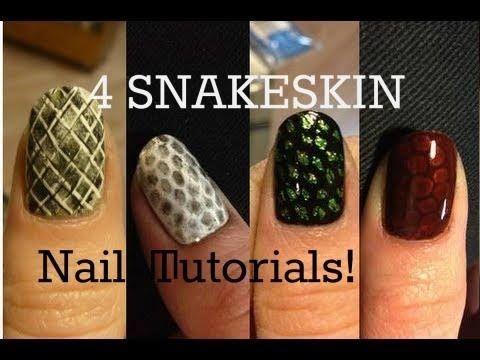 Easy Sexy Snakeskin Party Nail Art Tutorial - 4 Ways - YouTube