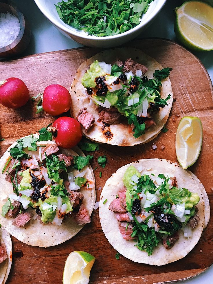 """I present you the real and properly done """"Tacos de Carne Asada"""" yes! These little beauties are just done the way the taqueros (a man that works in a taqueria) make them, with all the tr…"""