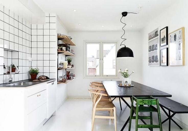 table bench black kitchen table bench  rustic dining room with scandinavian design table with rectangle shape black wooden dining table and brown wooden chairs with wicker seats green stool black bench black rustic pendant lamp white wall