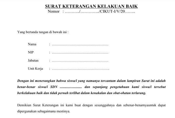 Contoh Surat Keterangan Kelakuan Baik Siswa Dari Sekolah Sekolah