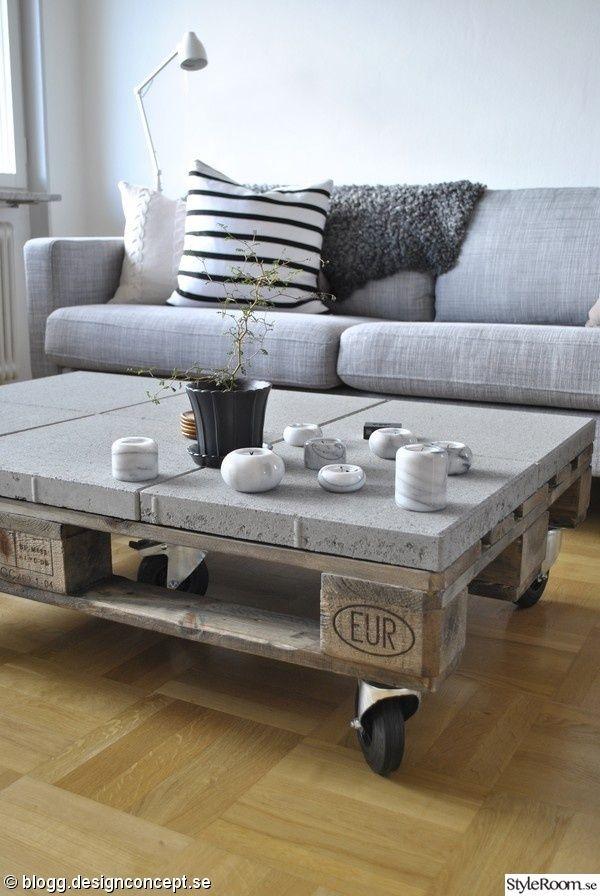 En lastpall, ett par släta plattor och lite hjul - sedan är ditt nya soffbord klart! Självklart kan du köpa sten till ditt nya soffbord hos Stenbolaget - online eller i butik! #DIY