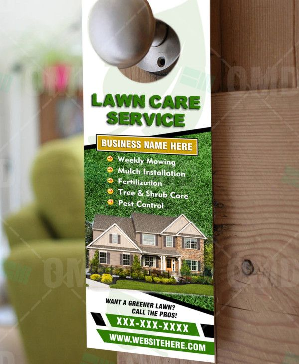 Lawn Care Door Hanger Design Template Lawncare Landscaping