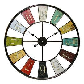 "Metal wall clock with multicolored panels and an antiqued finish.   Product: Wall clockConstruction Material: MetalColor: MultiFeatures: Battery operated - quartz movementAccommodates: Batteries - not includedDimensions: 32"" H x 32"" W x 1.5"" D"