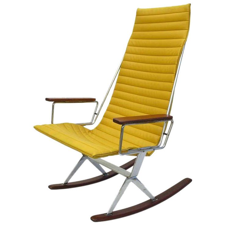 Gerald McCabe for Brown Saltman Rocking Chair in Yellow | From a unique collection of antique and modern rocking chairs at https://www.1stdibs.com/furniture/seating/rocking-chairs/