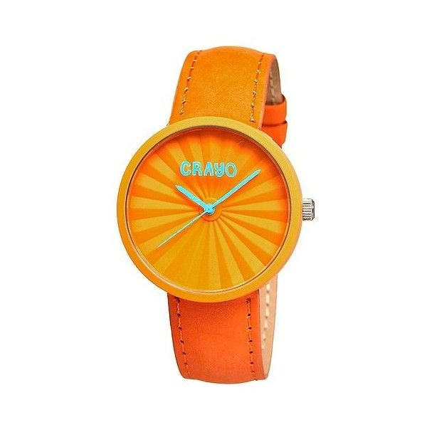 Women's Crayo Pleats Watch with 3D Pleat Pattern Dial ($40) ❤ liked on Polyvore featuring jewelry, watches, orange, butterfly jewelry, orange dial watches, dial watches, butterfly wing jewelry and wing jewelry