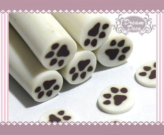Dog Foot Print Animal Polymer Clay Cane / Fimo Cane by DreamDeco, $0.99
