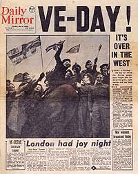 8th May, 1945 VE Day in Europe, London Daily Mirror, May 8, 1945. After five years, eight months, and five days of massive devastation, the end of the European phase of WWII was celebrated. Victory in Europe was commemorated with celebrations all around the world in recognition of the unconditional surrender of all German forces, which was signed in Reims, France, the previous day.