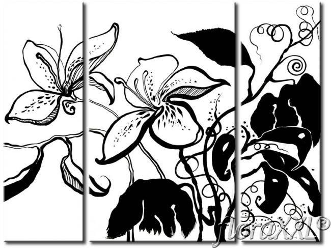 Modernes Wandbild Schwarz-weiße Blumen - Lilien - Ansicht vergrößern