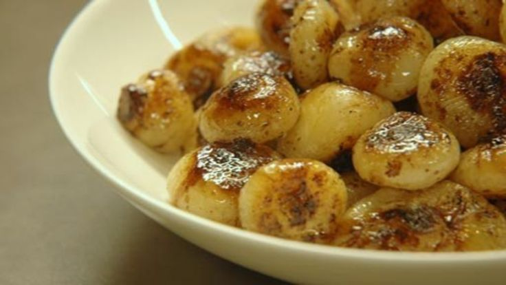 Sweet caramelized cipollini onions, sauteed in butter and olive olive until golden brown.