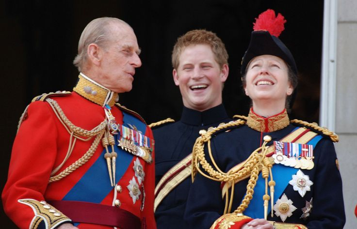 LONDON - JUNE 17:  (L-R) Prince Philip, Duke of Edinburgh, Prince Harry and Princess Anne, The Princess Royal look on from the balcony  during The Queen's Birthday Parade and Trooping The Colour at Buckingham Palace on June 17, 2006 in London, England.  (Photo by Anwar Hussein/Getty Images)  via @AOL_Lifestyle Read more: https://www.aol.com/article/entertainment/2017/08/02/prince-philip-final-official-engagement/23061805/?a_dgi=aolshare_pinterest#fullscreen
