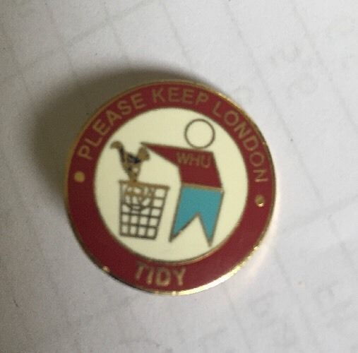 West Ham Utd  Keep London Tidy, Putting Spurs Badge In Bin Rare Badge Crest Pin.  | eBay