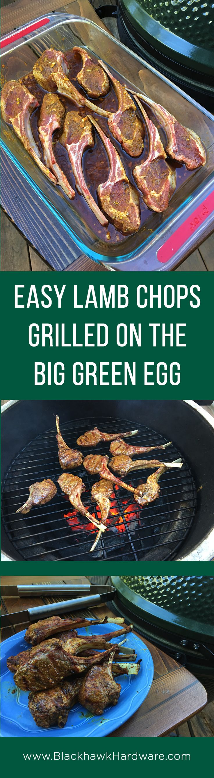Easy and delicious recipe for grilled lamb chops or lollipops on the Big Green Egg #grilling #BigGreenEgg