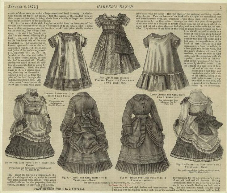 Children's clothing 1872