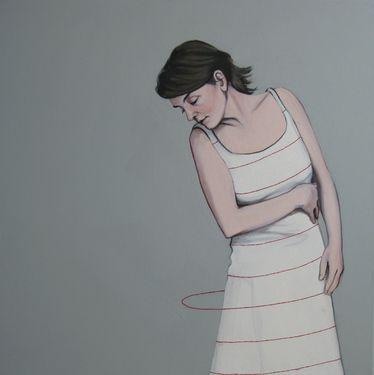 """Saatchi Art Artist Karoline Kroiß; Painting, """"striped dress / Streifenkleid EXHIBITION"""" #art"""