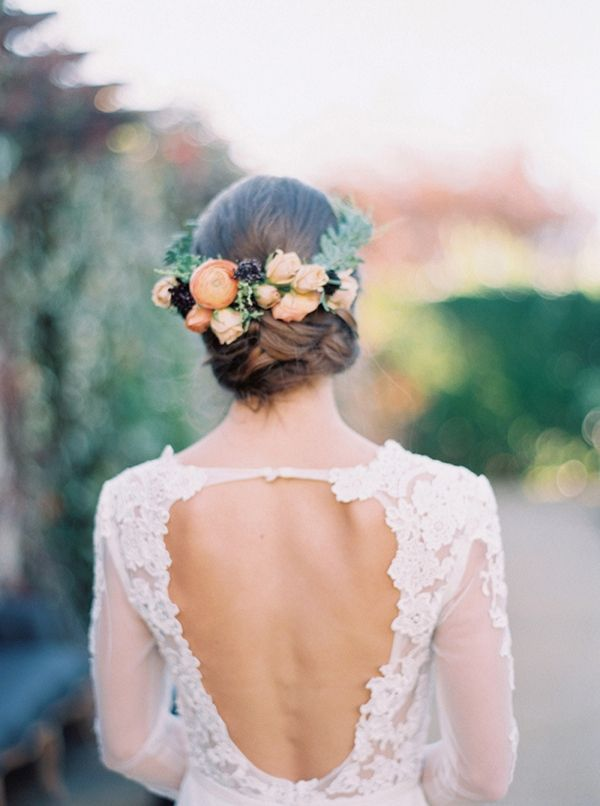 Floral Bridal Hairpiece with a Low Back Lace Wedding Dress | Trynh Photography on @heyweddinglady via @aislesociety