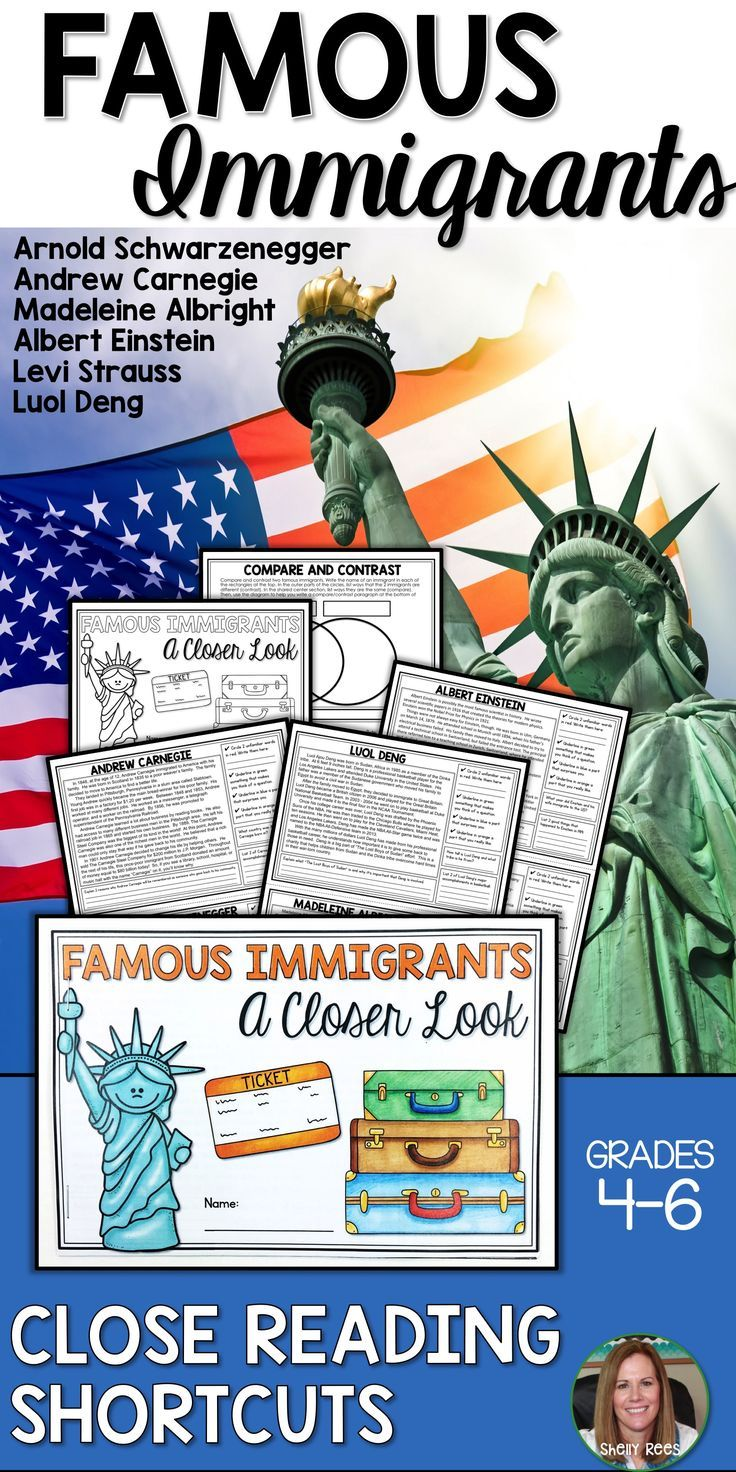 Teach about the important contributions of famous U.S. immigrants with this Famous Immigrants Close Reading Shortcuts packet! Students love these 6 nonfiction passages and using Close Reading strategies in this quick, easy format! Perfect for elementary kids in 4th, 5th, 6th grades and middle school, too!  Andrew Carnegie | Arnold Schwarzenegger | Madeleine Albright | Albert Einstein | Levi Strauss | Luol Deng