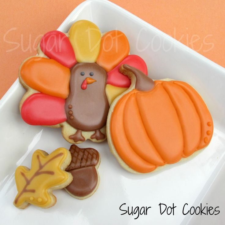 Thanksgiving Cookies with turkey using flower cutter - Sugar Dot Cookies