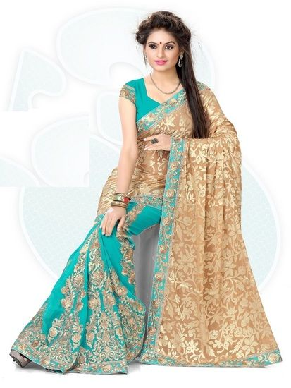 Buy Drapme Half Half Brasso sky Blue Georgette Embroidery Saree Online India - 3235356