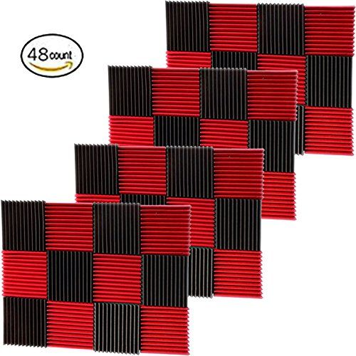 """(48 Pk) 1""""x12""""x12"""" RED/CHARCOAL Acoustic Panels Soundproofing Foam Acoustic Tiles Studio Foam Sound Wedges (12T)  Foam panels HIGHEST point reaches 1 inch height. Its LOWEST point reaches 3/4 inch in height. / Overall Noise Reduction Coefficient (NRC): 0.40  Smaller panels offer more options for placement and design / Pack of 48. Covers 48 sq. ft. (Covers 1 sq. ft. per sheet)  Good for Recording Studios, Vocal Booths, Home Theathers  Reduces standing waves and flutter echoes in small t..."""