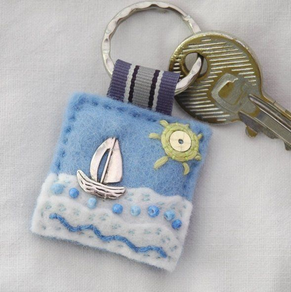 Sailing boat felt keyring - £7.00 + p&p  www.elliestreasures.co.uk