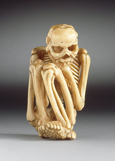 Japan  Skeleton, 19th century  Netsuke, Ivory with staining, sumi