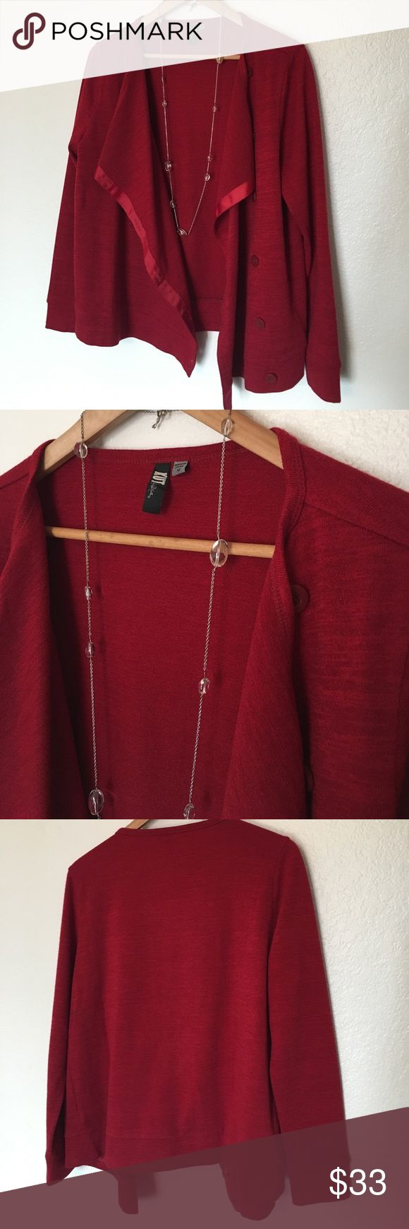 🌼Kut from the Kloth Red Cardi🌼 This Cardi is a deep red color. Has a Ribbon detail in front and buttons to close if desired. It's a bit of a drapey style. Only worn once. Size M but would also work for a L in my opinion. Save on ✈️SHIPPING✈️and 🎁BUNDLE! I even give a discount on 3 or more regularly priced item bundles. I always accept reasonable offers with the offer button! 🚫❌Lowball offers please! Kut from the Kloth Sweaters Cardigans