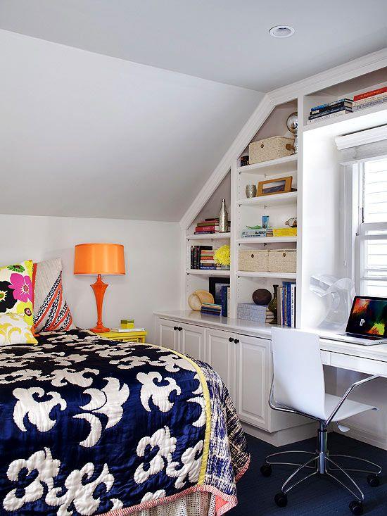 attic bedroom with built in desk/bookshelves