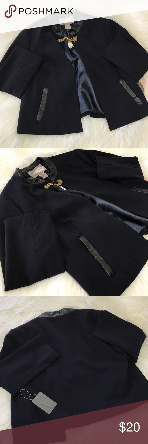 """Forever 21 Navy Career Jacket Blazer Size L NWT NWT Forever 21 career jacket blazer in a size large. Color is Navy with a black collar and black pockets. Jacket only fastens by the chain/button by the collar (see photos). There are no snags, stains, or rips. Measurements are approximately while lying flat: 18"""" long, 17"""" from armpit to armpit, 18"""" sleeve length. Feel free to ask questions! Forever 21 Jackets & Coats Blazers"""