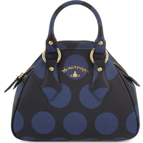 Vivienne Westwood Polnia Saffiano Leather Bowling Bag 340 Liked On Polyvore Featuring Bags Handbags Black Polka Dot Purse