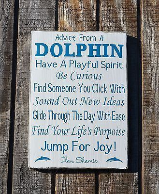 Rustic Beach Sign Decor, Advice From A Dolphin Wooden Plaque Dolphin Quotes Wood