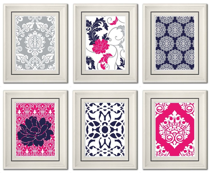 Set of Six Modern/Vintage Fuchsia/Navy Wall Art 8x11 by catsbeads