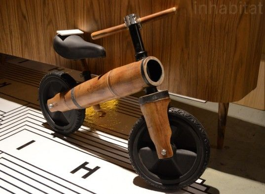 Diego Cardena's fun balancing bicycle for kids features a frame and a fork made from shafts of sturdy bamboo