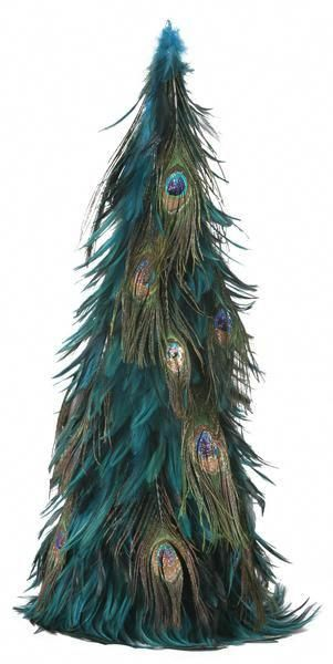 Hackle Feather Christmas Tree with Peacock Eye Feathers and Copper