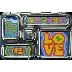 Love this groovy Planet Box lunch box! Not only do I like the hip stickers but also the fact this sectioned lunch is made of a high quality stainless steel. Way to go PlanetBox! For more creative ideas for kids lunches LIKE US on Facebook @ https://www.facebook.com/SchoolLunchIdeas