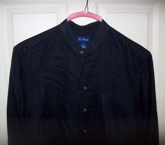 Vintage Men's Black Linen Collarless Shirt by Paul by SusOriginals