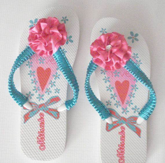 50% off Beach flip flops Summer shoes Decorated flower by Poppyg